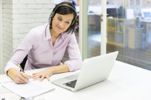 Female business laptop call video conference